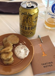 Picklechips, good beer, and a tasting notebook. Everything you need for a great night of tasting.