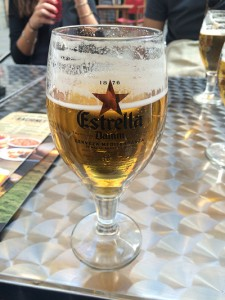 Estrella Damm clinging to the glass.